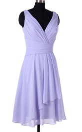 Lavender Bridesmaid Short Chiffon V Neck Bridesmaid Prom Dress