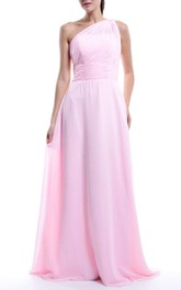 Floor-length One-shoulder Chiffon&Satin Dress