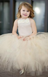 Halter Pleated Champagne Tutu Tulle Dress With Straps