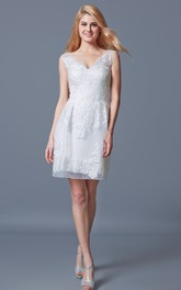 Demure V-neck Short Lace Dress With Appliques