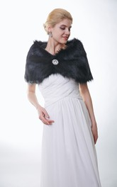 All Black Faux Fur Bridal Wrap With Crystal Brooch