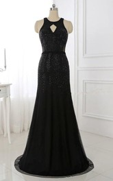 Trumpet Long Chiffon Dress With Beading And Open Back