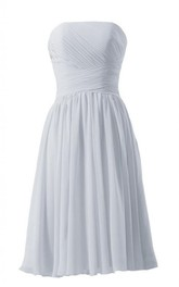 Strapless Ruched Knee-length Pleated Chiffon Dress