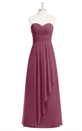 Sweetheart Floor Length Chiffon A-Line Dress With Side Draping and Crisscross Ruching