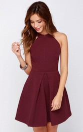 Short Halter Chiffon Dress with Keyhole Back