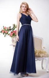 Scallop-edged Neck Pleated Tulle Gown With Lace