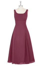 Chiffon Sleeveless A-Line Dress With Square Neckline and Pleated Top