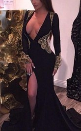Sexy Gold and Black Long Sleeve 2018 Prom Dresses Mermaid Deep V-neck