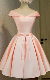Ball Gown Off-the-shoulder V-neck Short Sleeve Bow Pleats Tea-length Satin Homecoming Dress