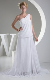 One-Shoulder Pleated Chiffon Maxi Dress with Gemmed Waist