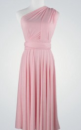Ruched One-shouldered Gown With Sash and Straps