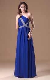 one-shoulder floor-length chiffon dress with strass
