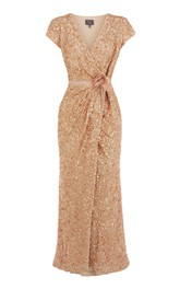 V-Neck Overall Sequined Dress With Front-Split Design
