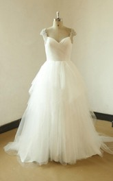A-Line Tulle Satin Dress With Beading Ruffles Keyhole Back