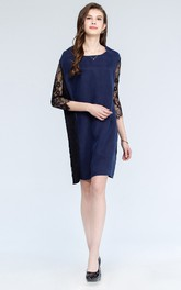 Modest Lace Sleeve Scoop Short Dress