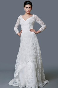 Amazing Lace Mermaid Dress With Long Sleeves