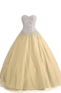 Sweetheart A-line Ball Gown With Beaded Bodice