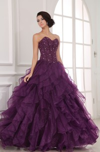 Lavish A-Line Princess Ball Gown With Organza Ruffles And Crystal Detailing