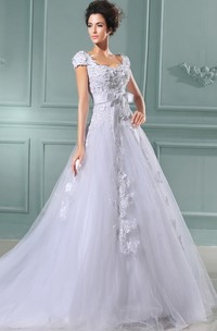 A-Line Queen Anne Gown With Lace Bodice And Ruffles