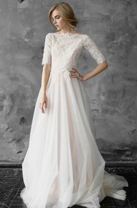 A-Line Tulle Beaded Lace Wedding Dress