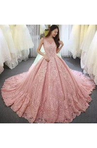 Ball Gown V-neck 3 4 Length Sleeve Lace Tulle Wedding Dress