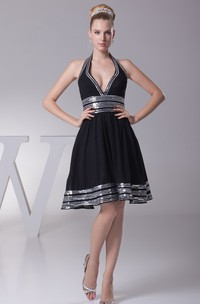 Deep-V-Neck Sleeveless Midi A-Line Dress with Strapped and Pleats
