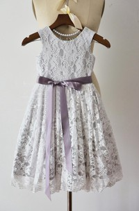Sleeveless Jewel Lace Dress With Bow Sash