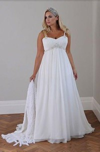 Plus Size Spaghetti Strap Crystal Beaded Chiffon Beach Wedding Gown