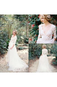Bohemian Vintage Half Sleeves Deep V Neck Beaded Lace A Line Bridal Gown