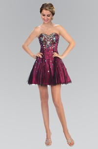 A-Line Short Sweetheart Sleeveless Tulle Satin Dress With Sequins