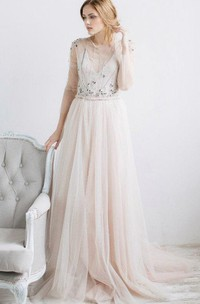 A-Line Tulle Half Sleeve Dress With Beading And Keyhole Back