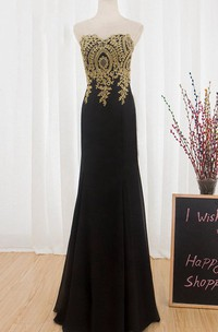 Round Neck Chiffon Sexy Gold Lace Long Prom Black Mermaid Formal Dress