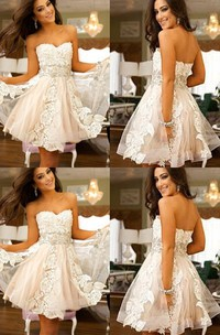 A-line Sweetheart Sleeveless Appliques Short Mini Lace Tulle Homecoming Dress