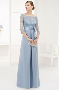 A-Line Floor-Length Appliqued Bateau-Neck 3-4-Sleeve Satin Prom Dress With Beading