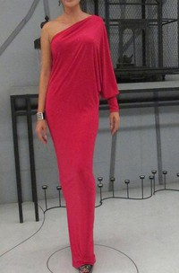 Pink One Shoulder Long Jersey Dress