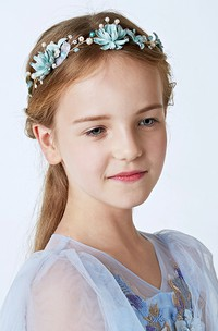 Flower Girl Pearl Blue Crystal Headdress Wreath