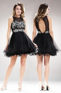 A-Line Jewel-Neck Sleeveless Tulle Keyhole Dress With Beading And Ruffles