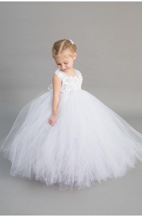 Cap Sleeve Ivory Chiffon Flower Empire Pleated Tulle Ball Gown With Bow