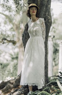 Long Sleeve Vintage Lace Tea-length Wedding Dress With Scoop Neck And V-back