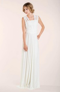 Lace Lay Sleeveless Ivory Floor-Length Dress With Pleats