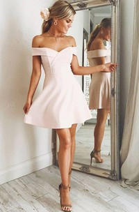 A-line Off-the-shoulder Sleeveless Criss Cross Short Mini Chiffon Homecoming Dress