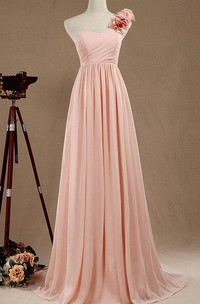 A-line Long One-shoulder Chiffon&Satin Dress