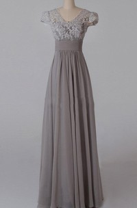 A-line Floor-length V-neck Chiffon&Lace&Satin Dress With Appliques