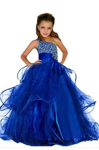 One Shoulder Beading Ball Gown Flower Girl Dress with Ruffle