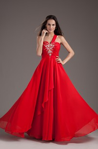 single-strap maxi chiffon dress with appliques and draping