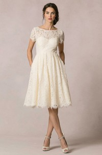A-Line Short-Sleeve Scoop-Neck Short Lace Wedding Dress With Keyhole