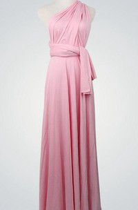 Infinity One-shoulder Long Jersey Bridesmaid Dress