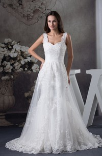Scoop-Neckline Sleeveless A-Line Lace Gown with Appliques Cinched Waistband
