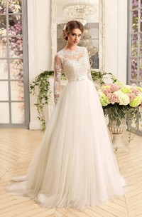 A-Line Floor-Length Jewel Illusion-Sleeve Lace-Up Tulle Dress With Appliques And Pleats