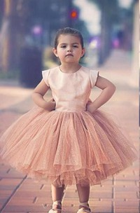 Lovely Cap Sleeve Tulle Princess Flower Girl Dress Bowknot